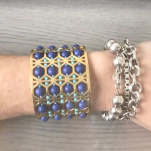 Blue, Turquoise Gold Stella & Dot Abacus Cuff